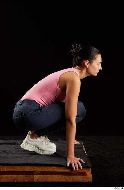 Whole Body Woman White Jeans Slim Kneeling Leggings Studio photo references