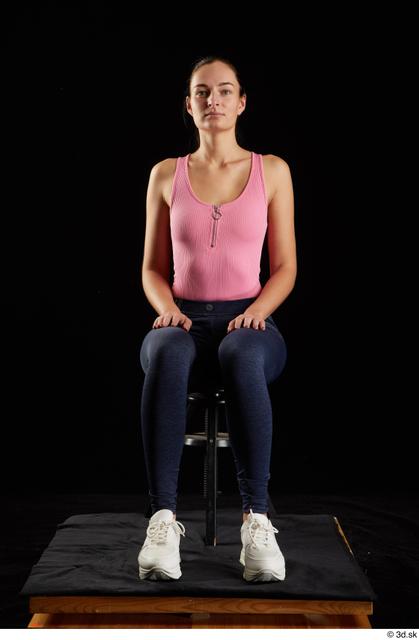 Whole Body Woman White Jeans Slim Sitting Leggings Studio photo references