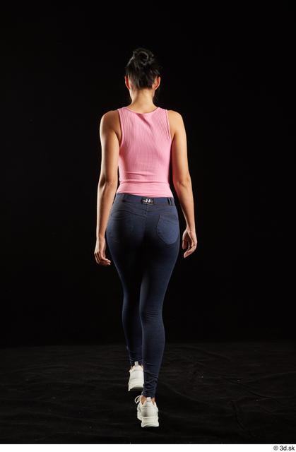 Whole Body Back Woman White Jeans Slim Walking Leggings Studio photo references