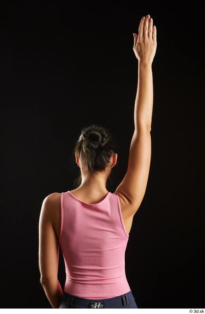 Arm Back Woman White Slim Studio photo references