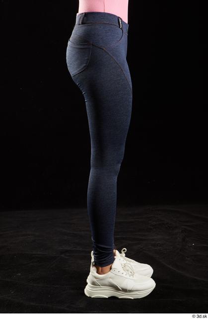 Leg Woman White Jeans Slim Leggings Studio photo references