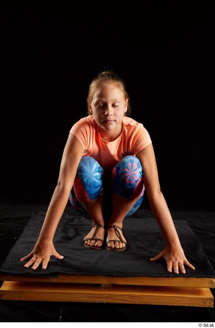 Whole Body Woman White Sports Shoes Shirt T shirt Average Kneeling Leggings Studio photo references
