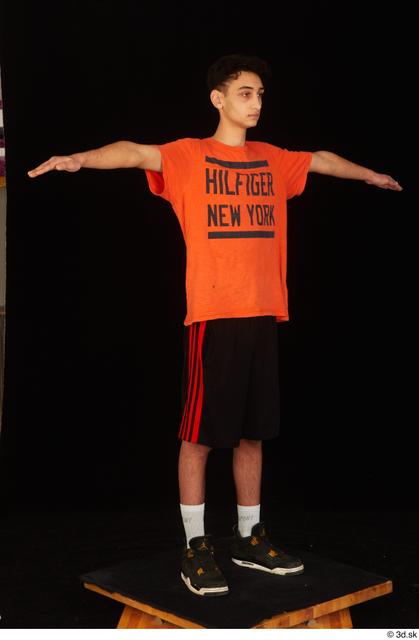 Whole Body Man T poses White Sports Shoes Shirt Shorts Slim Standing Studio photo references