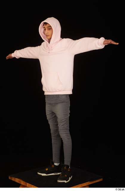 Whole Body Man T poses White Casual Shoes Jeans Slim Standing Studio photo references