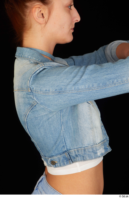 Upper Body Woman White Casual Jeans Jacket Slim Studio photo references