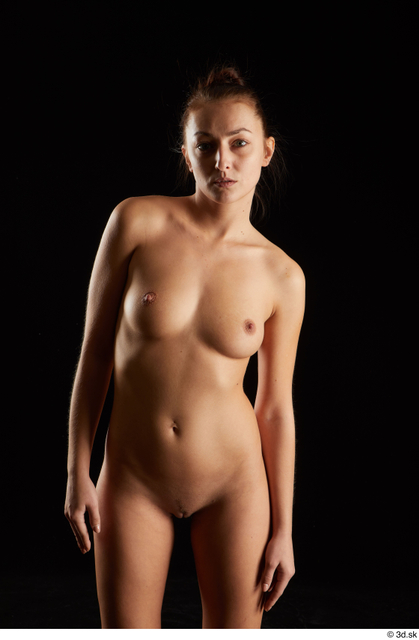 Woman White Nude Slim Studio photo references