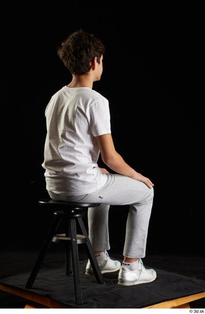 Whole Body Man White Sports Shirt T shirt Sweatsuit Kneeling Studio photo references