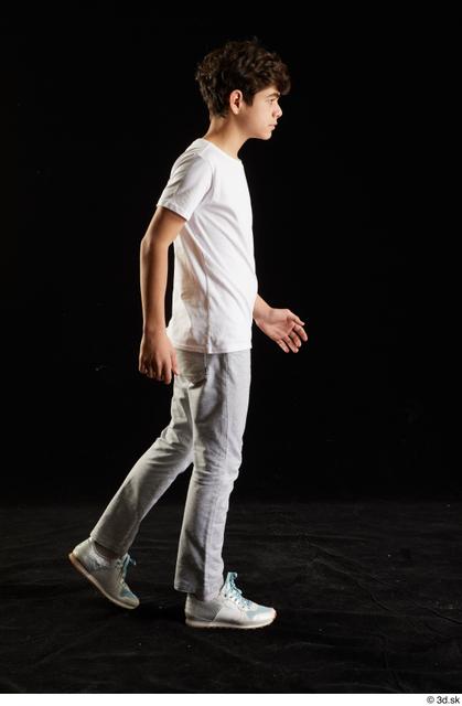 Whole Body Man White Sports Shirt T shirt Sweatsuit Walking Studio photo references