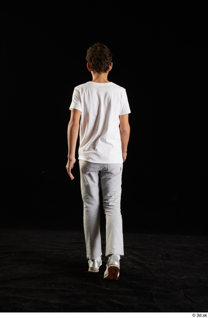 Whole Body Back Man White Shirt T shirt Sweatsuit Walking Studio photo references