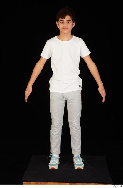 Whole Body Man White Sports Shirt T shirt Sweatsuit Slim Standing Studio photo references