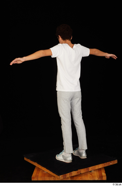 Whole Body Man T poses White Sports Shirt T shirt Sweatsuit Slim Standing Studio photo references
