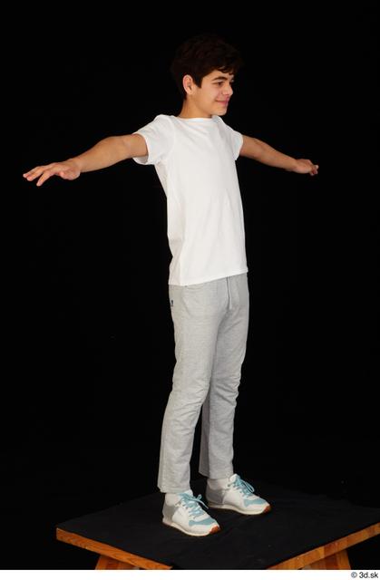 Whole Body Man T poses White Sports Shirt T shirt Sweatsuit Slim Standing Studio photo references