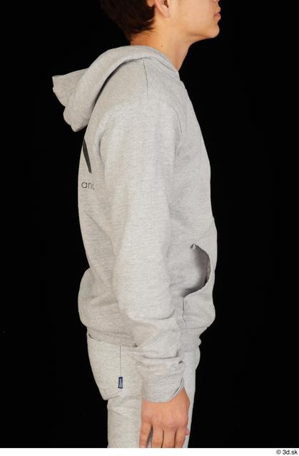 Arm Upper Body Man White Sports Sweatsuit Slim Studio photo references