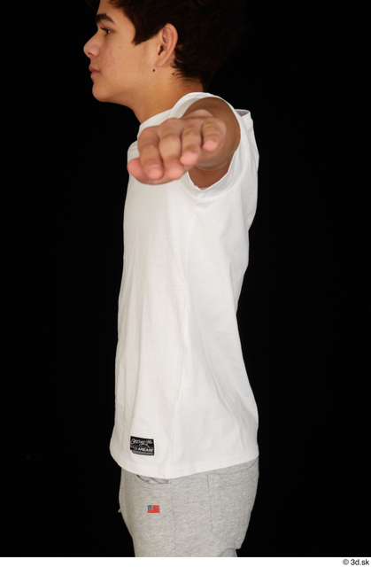 Upper Body Man White Sports Shirt T shirt Slim Studio photo references