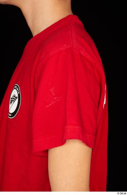 Arm Upper Body Man White Sports Shirt T shirt Slim Studio photo references