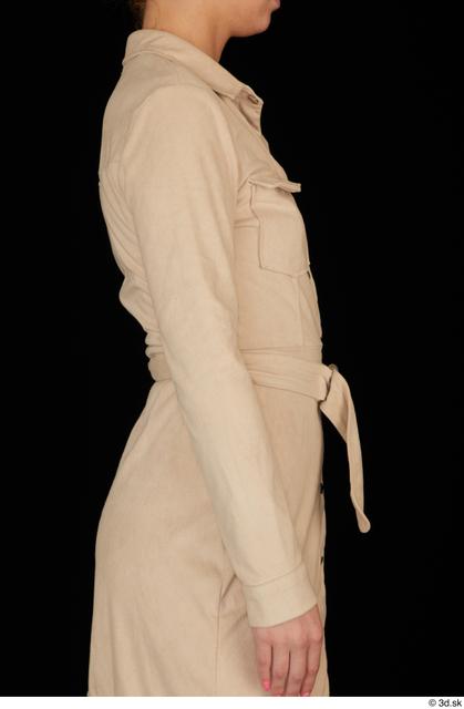 Arm Upper Body Woman White Dress Slim Studio photo references
