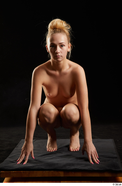 Whole Body Woman White Nude Slim Kneeling Studio photo references