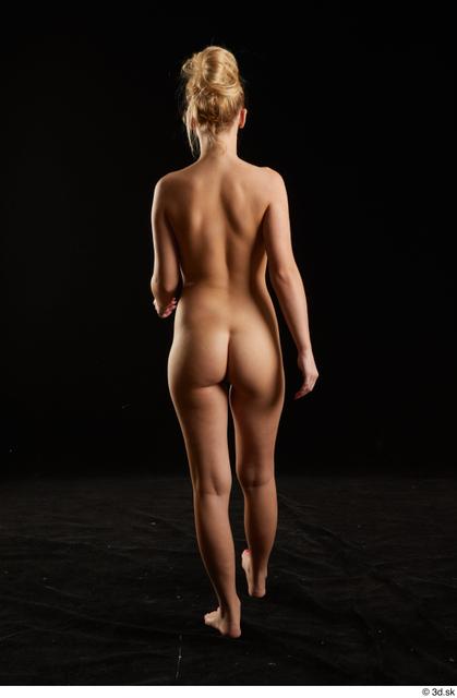 Whole Body Back Woman White Nude Slim Walking Studio photo references