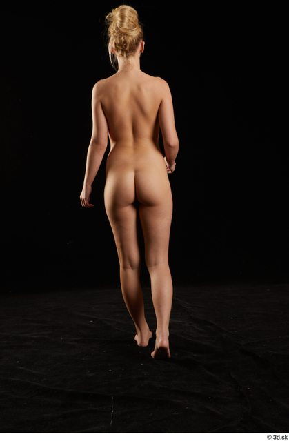Whole Body Back Woman White Nude Slim Walking Studio photo references