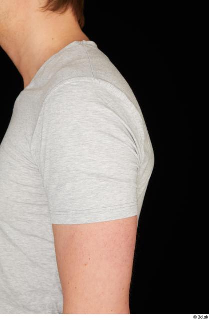 Arm Upper Body Man White Casual Shirt T shirt Slim Studio photo references