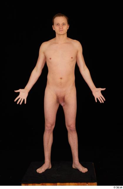 Whole Body Man Nude Slim Standing Studio photo references