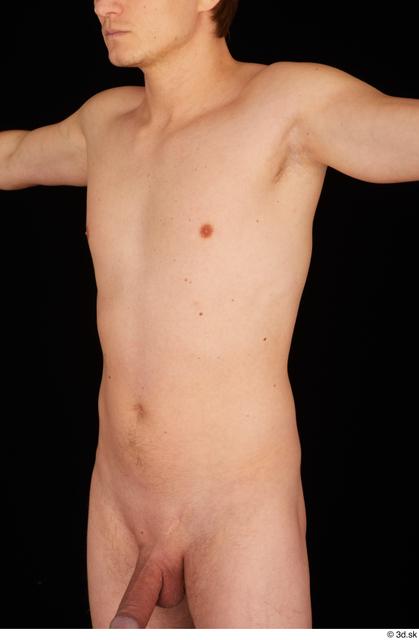 Upper Body Man Nude Slim Studio photo references