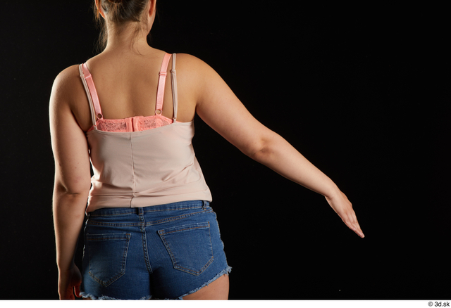 Arm Back Woman White Casual Chubby Top Studio photo references