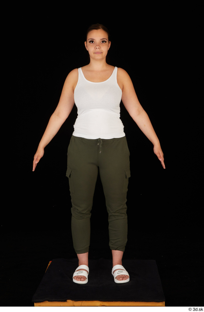 Whole Body Woman White Casual Trousers Chubby Standing Studio photo references