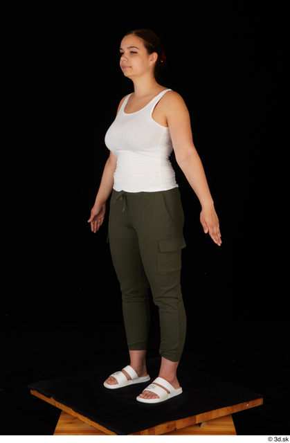 Whole Body Woman White Casual Trousers Chubby Standing Top Studio photo references