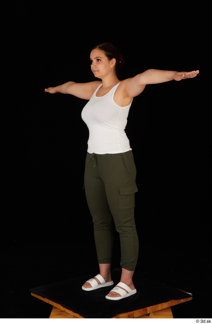 Whole Body Woman T poses White Casual Trousers Chubby Standing Top Studio photo references