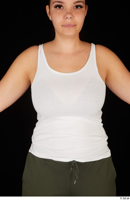 Upper Body Woman White Casual Chubby Top Studio photo references