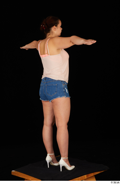 Whole Body Woman T poses White Casual Jeans Shorts Chubby Standing Top Studio photo references