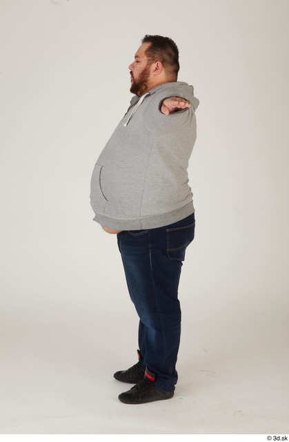 Whole Body Man T poses White Casual Overweight Standing Street photo references