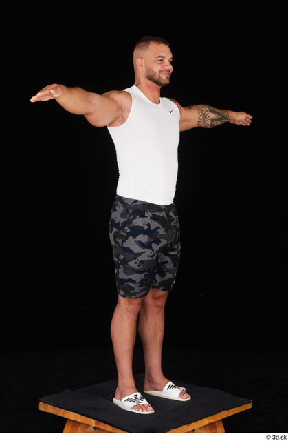 Whole Body Man T poses White Sports Shorts Muscular Standing Top Studio photo references
