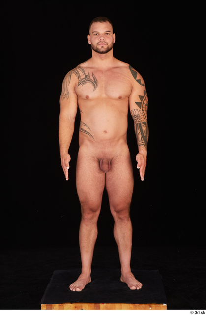 Whole Body Man White Nude Muscular Standing Studio photo references