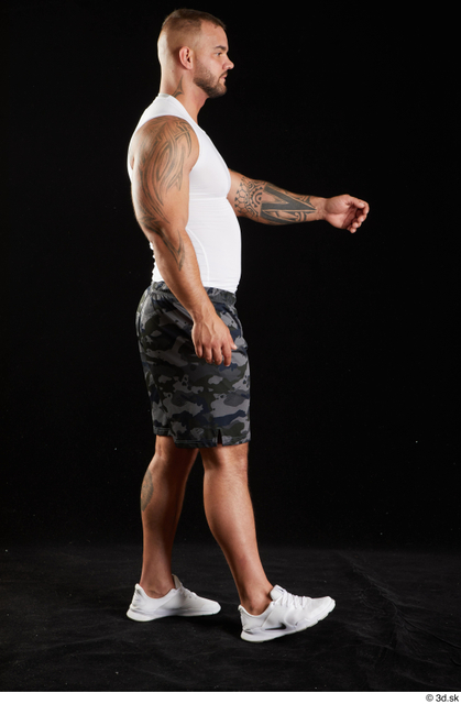 Whole Body Man White Sports Shorts Muscular Walking Top Studio photo references