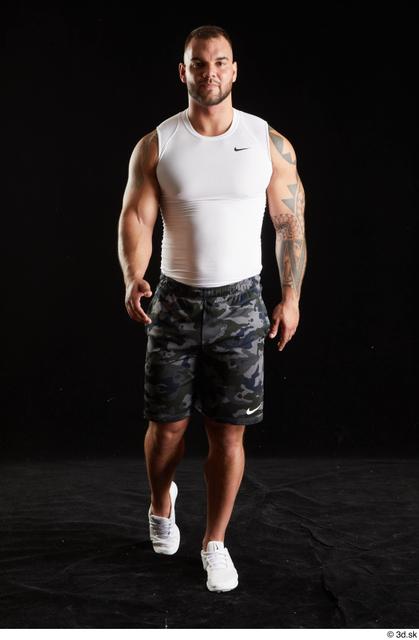 Whole Body Man White Sports Shorts Muscular Walking Top Studio photo references