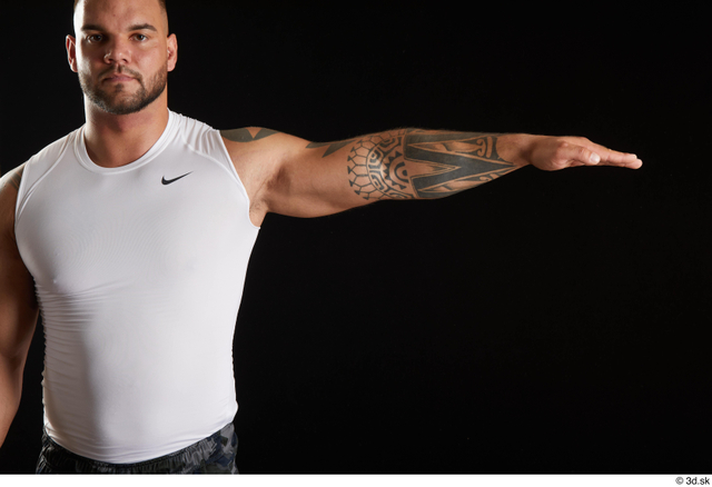 Arm Man White Sports Muscular Top Studio photo references