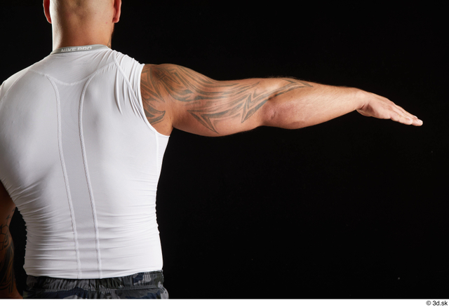 Arm Back Man White Sports Muscular Top Studio photo references