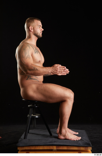 Whole Body Man White Nude Muscular Sitting Studio photo references