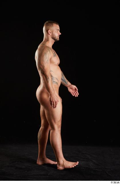 Whole Body Man White Nude Muscular Walking Studio photo references