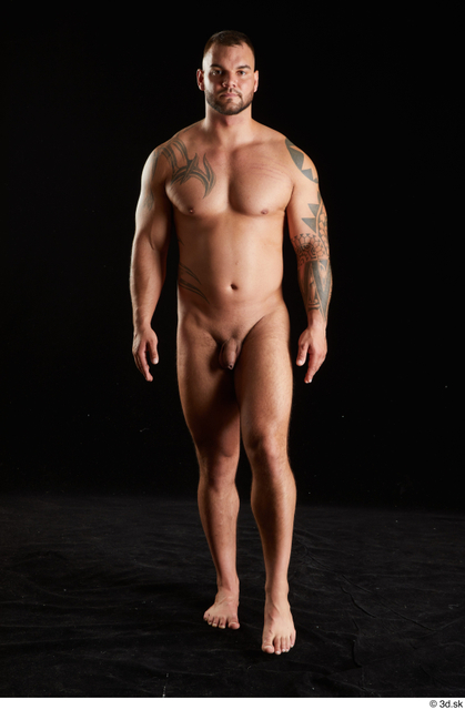 Whole Body Man White Nude Muscular Walking Studio photo references