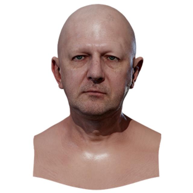 Retopologized 3D Head scan of Anton