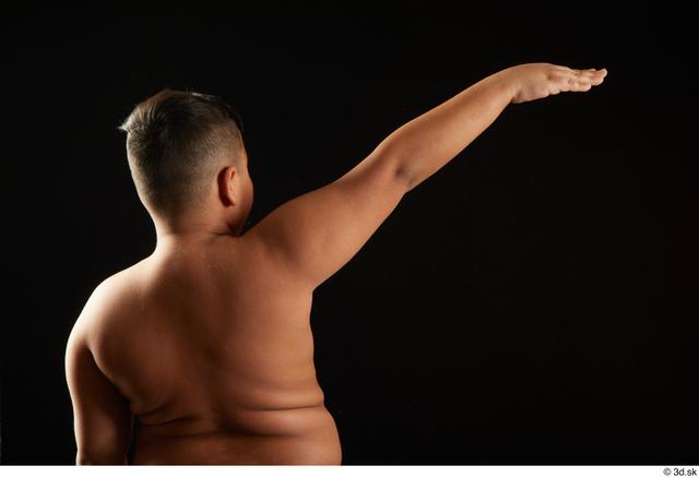 Arm Back Man White Underwear Overweight Studio photo references