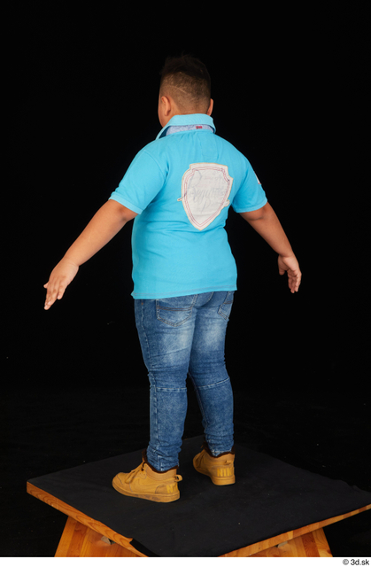 Whole Body Man White Casual Shirt Jeans Overweight Standing Studio photo references