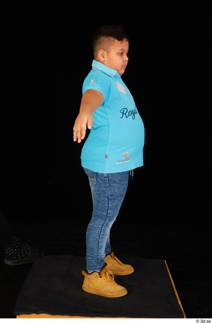 Whole Body Man T poses White Casual Shirt Jeans Overweight Standing Studio photo references