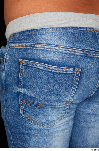 Hips Man White Casual Jeans Overweight Studio photo references