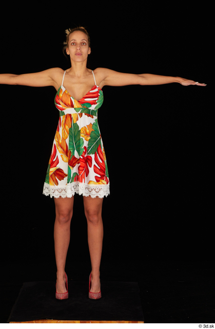 Whole Body Woman T poses White Casual Dress Slim Standing Studio photo references