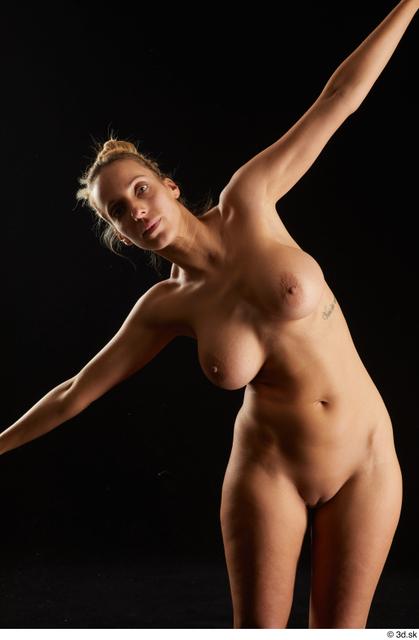 Upper Body Woman White Nude Slim Studio photo references