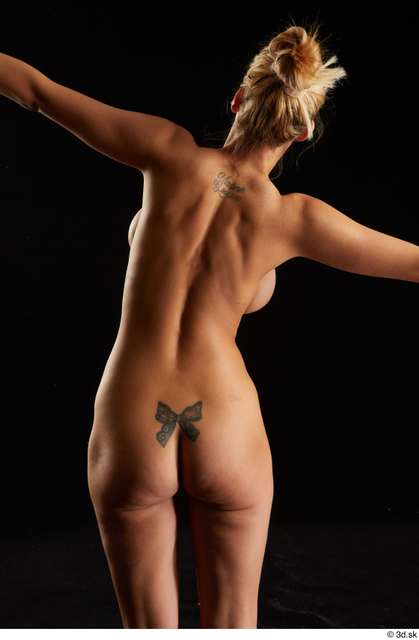 Upper Body Back Woman White Nude Slim Studio photo references